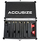 "AccusizeTools- 7 Pieces/Set 1/2"" Indexable Carbide Turning Tool Set in Fitted Box, #2387-2004"