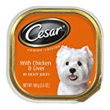 Cesar Canine Cuisine with Chicken & Liver in Meaty Juices for Small Dogs, 3.5-Ounce Trays (Pack of 24)