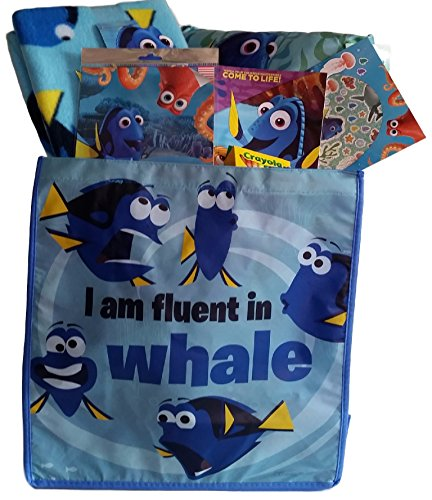 [Finding Dory Blue Pillow with Soft Travel Blanket and Shopping Bag Bundle] (Finding Nemo Costume Homemade)