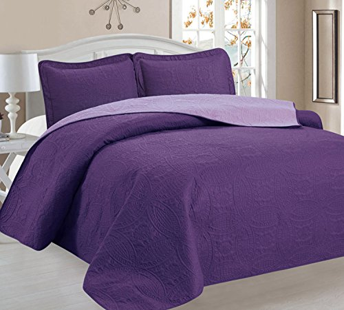 Home Sweet Home Victoria Design Reversible 3 PC Quilt Bedspread Sets (Full/Queen, Purple/Lavender) (Queen Quilt Set Purple compare prices)