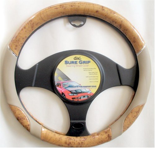 Wood & Beige Steering Wheel Cover