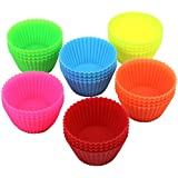 DecoBros 24-Pack Silicone Baking Cup Cupcake Liners