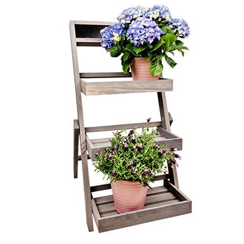 Blumenleiter-Pflanzentreppe-Blumenregal-Holz-Shabby-Chic-Landhaus-Grau