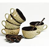 Cultural Concepts Beige N Brown Timantti Soup Bowls Set Of 6