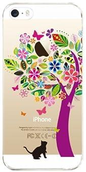 【iPhone5S】【iPhone5】【iPhone5sケース】【iPhone5ケース】【docomo】【au】【Soft Bank】【スマホケース】【クリアケース】【Clear Arts】【花とネコ】 22-ip5-ca0070