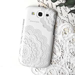 Femme Samsung Galaxy S3 III i9300 Femme Harmony Hard Case Cover (White Lace Floral Cut out)