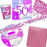 50th Birthday Pink Shimmer Party Pack