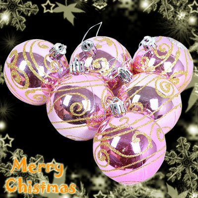 6 x Pink Xmas Christmas Decorations Baubles Balls