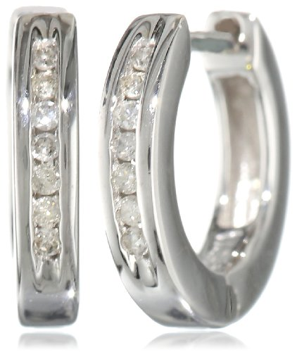 Sterling Silver Channel-Set Diamond Hoop Earrings (1/10 cttw, I Color, I2-I3 Clarity) 0.4