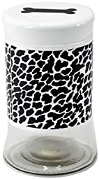 Housewares International Glass Pet Treats Container with Lid, Black and White Cheetah Print, 34-Ounce