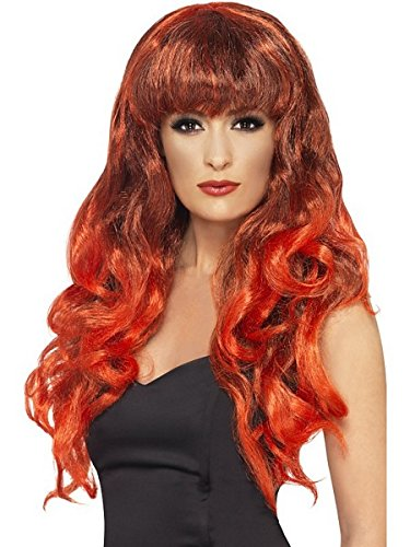 Smiffy's Siren Smiffy Wig, Red/Black, One Size - 1
