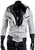 Next house メンズ ファッション ジャケット 立て 襟 フード 付き ジップ アップ 長 袖 アウター パーカー 大きい サイズ あり ( 10: ライトグレー Mサイズ )
