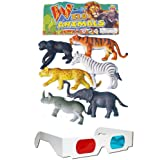 Wild Animals Plastic Toys For Kids + Free 3D Glasses (6 Pcs. Pack)