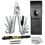 Leatherman 831102 Super 300 Stainless Steel 19-piece Utility Tool With Leather Sheath + Stanley 66-344 4-in-1 Pocket Screwdriver + Photo4Less Cleaning Cloth