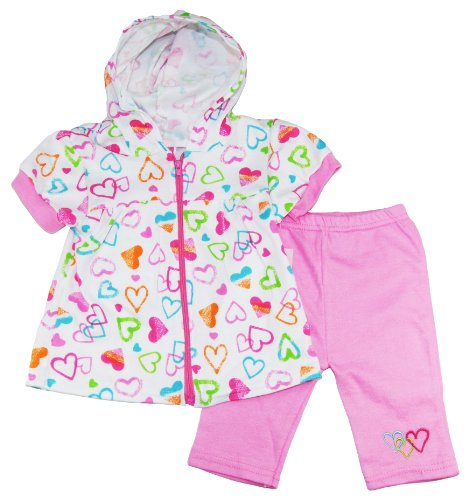 Coney Island Baby Girls Newborn Hearts Hoodie Two Piece Capri Pants Set, Pink , 6/9M front-943713