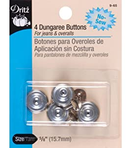 Dritz(R) No-Sew Dungaree Buttons - Nickel, 4 buttons