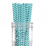 Dress My Cupcake 25-Pack Vintage Paper Straws, Aqua Chevron