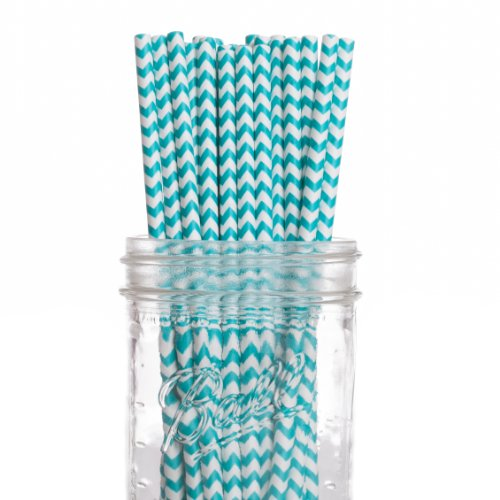 Dress My Cupcake 25-Pack Vintage Paper Straws, Diamond Blue Aqua Chevron front-520293