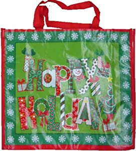 Christmas Gift Bag Reusable 19-1/2 x 18-1/2 x 6-1/2 In (Happy Holidays)