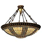 Meyda Tiffany 98754 Fleur-De-Lis Collection 10-Light Semi-Flush, Mahogany Bronze and Antique Gold with Opaque Beige Jeweled Stained Glass Shade