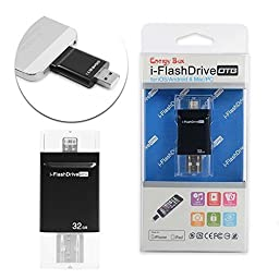 New i Flash Drive HD OTG USB iPhone USB iPad USB Expanding Memory for iPhone 5s /iPhone 6/iPhone 6s/iPhone 6 Plus/iPhone 6s Plus/ iPad Easy to Save Photos/Video 32GB Black
