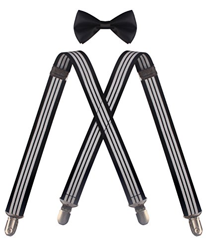 ORSKY black bow tie black girls suspenders infant bow tie Black White Stripe (1960 Ties compare prices)