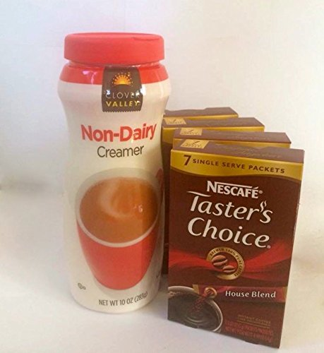 Coffee & Creamer - Nescafe Taster'S Choice - House Blend - Single Serving Packets (7 Per Box/4 Boxes) Plus Clover Valley Non-Dairy Creamer
