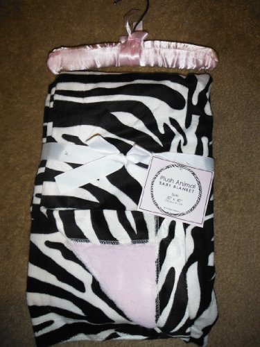 SL Baby Collection Pink Zebra Print Fleece Plush Animal Baby Blanket 30x40 - 1