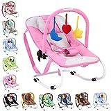 Infantastic - Hamaca para bebés con cinturón de seguridad y 3 puntos de fijación - modelo rosa