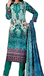 Grassroot Galery Printed Pure Cotton -Satin with Fresh Turquoise Blue and Dark Mauve Unstitched Dress Material