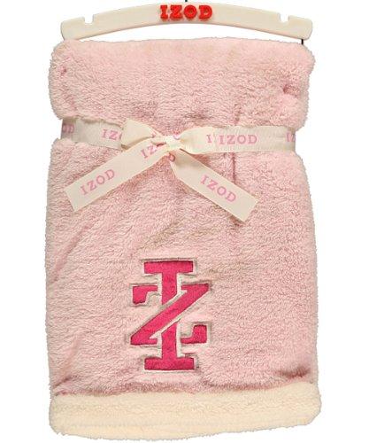 "Izod ""Contrast Logo"" Plush Blanket - pink/ivory, one size"