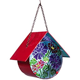Metal and Glass Leaves and Flowers Medallion Hanging Birdhouse