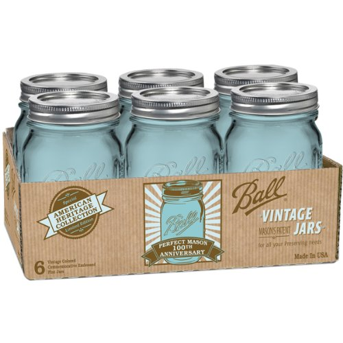Ball Pint Jars with Lids and Bands, Blue, Set of 6