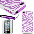 Pandamimi Hard Soft High Impact iPhone 4G Armor Case Skin Gel - Purple White Zebra Combo