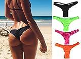 Focussexy Women's 2016 Hot Summer Beachwear Bikini Bottom Thong Swimwear Black L