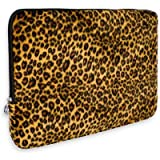 Leopard Animal Print Faux-fur Carrying Case Sleeve for Apple MacBook 13 inch Notebook Laptop Computer ~ K-Cliffs