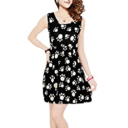 Ladies Low Round Neck White Dog Foot Print Black Mini A Line Dress XS from sourcingmap