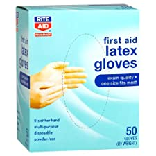 Rite Aid Latex Medical Gloves, Powder Free 50 ct.