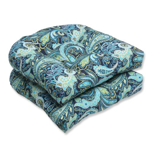Pillow Perfect Outdoor Pretty Paisley Wicker Seat Cushion, Blue, Set of 2 photo