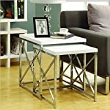 Monarch Specialties Glossy White and Chrome Metal Nesting Table Set, 2-Piece
