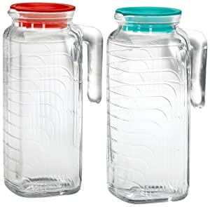 Bormioli Rocco Gelo 2-Piece Glass Pitcher Set with Lids, Red and Green