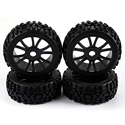 SkyQ Black 1/8 Scale RC Off Road Car Buggy Racing Tires Tyre and Wheels HSP HPI 4pcs