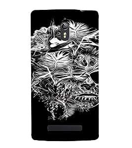 PrintVisa Modern Skull Design 3D Hard Polycarbonate Designer Back Case Cover for Oppo Find 7