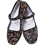 Black Brocade Silk Mary Jane Chinese Shoes ~ Pandamerica