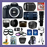 Canon EOS Rebel T4i Digital 18 MP CMOS SLR Camera with EF-S 18-55mm f/3.5-5.6 IS II Zoom Lens & EF 75-300mm f/4-5.6 III Zoom Lens + EF 50mm f/1.8 II + 500mm Preset Telephoto Lens + Super Wide Angle Lens + 2x Telephoto Lens + Macro Lens Set + UV Filter, CPL Filter, FLD Filter Kit + 32 GIG Deluxe Accessory Kit