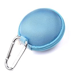 Case Star ® Light Blue Earphone handsfree headset HARD EVA Case - Clamshell/MESH Style with Zipper Enclosure, Inner Pocket, and Durable Exterior + Silver Climbing Carabiner+Case star cellphone bag