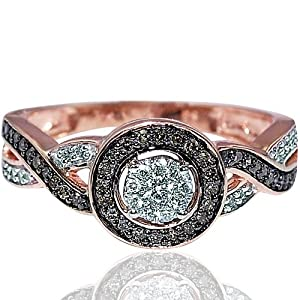 Rose gold Diamond Engagement ring chocolate cognac halo .25ct woven sides from MidwestJewellery