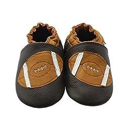 Sayoyo Baby Baseball Soft Sole Leather Infant Toddler Prewalker Shoes(6-12 Months,Black)