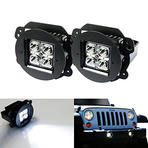 iJDMTOY 40W CREE LED Fog Light Kit with Metal Mounting Brackets for Jeep Wrangler JK Bumper