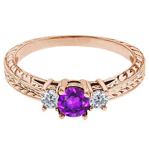 0.60 Ct Round Purple Amethyst G/H Diamond 14K Rose Gold 3-Stone Ring